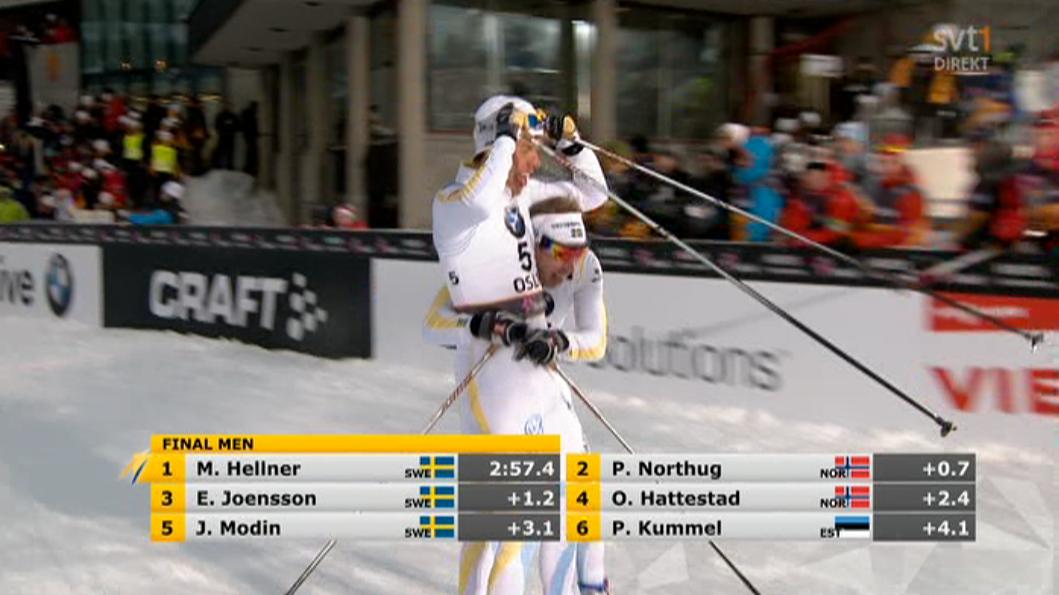 Jönsson och Hellner firade medaljerna efter målgång.