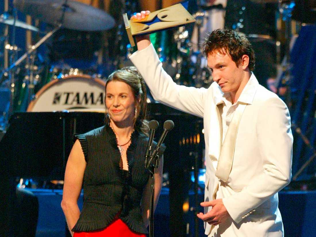 Svenska Idrottsgalan 2003 i Globen. Kim Källström prisas som Årets Nykomling. Foto: Björn Lindahl/Aftonbladet.