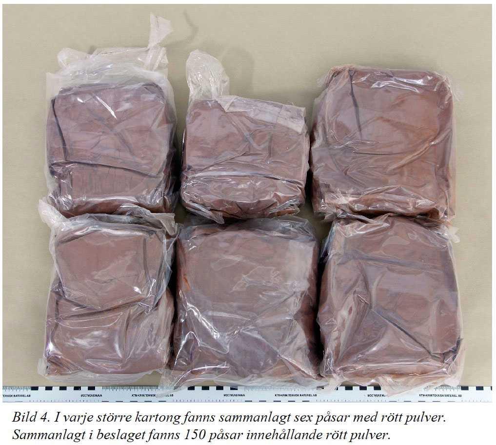 Lasten på pallen vägde omkring 300 kilo. I ett pressmeddelande gick Tullverket ut med att det beslagtagna kokainet bedömdes vara värt 268 miljoner kronor på gatan.