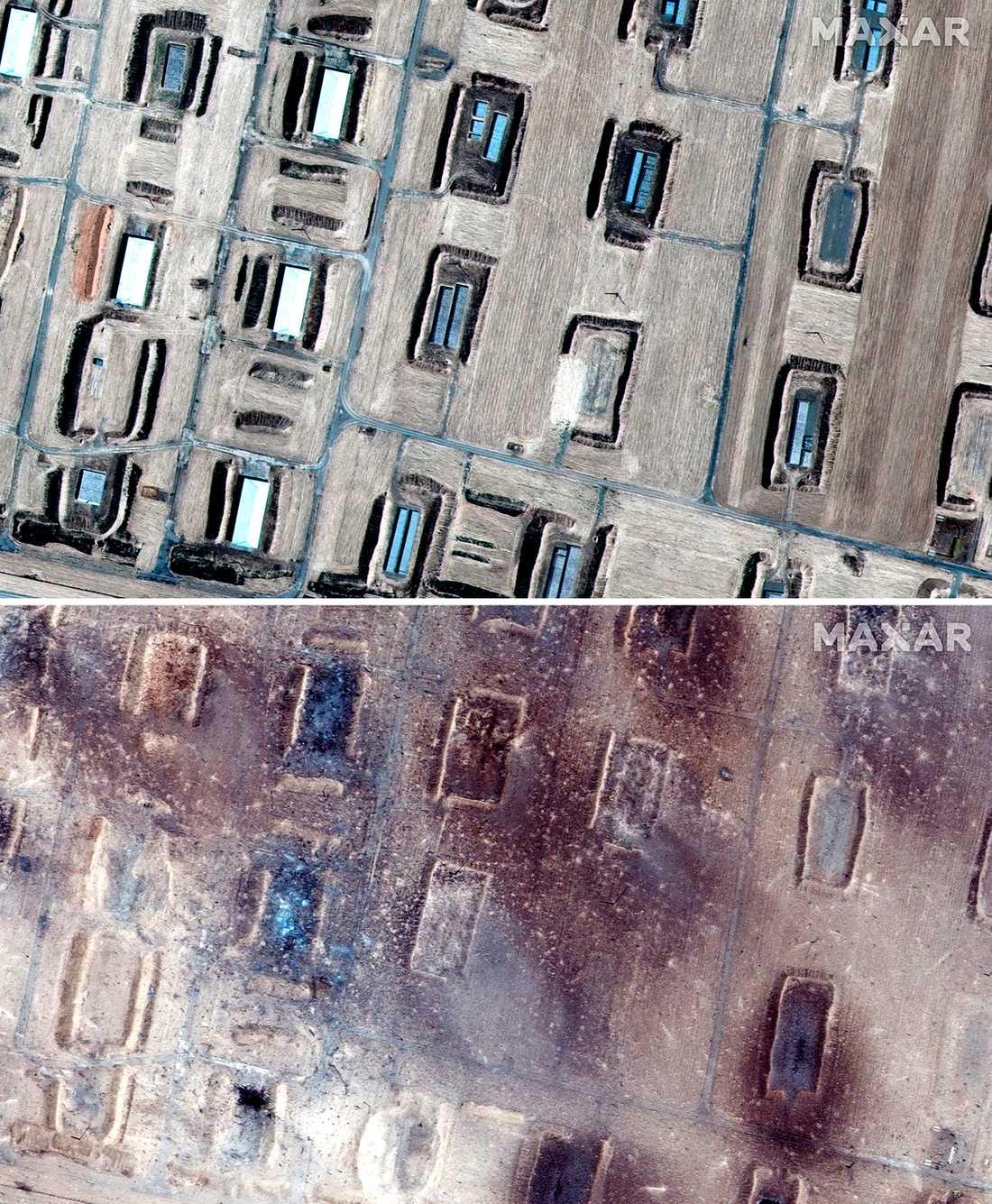 Satellitbilden ovan visar anläggning 29 juni 2018. Bilden nedan är från 25 juni 2019.