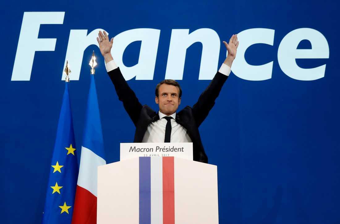 Macron fick flest röster i första omgången.
