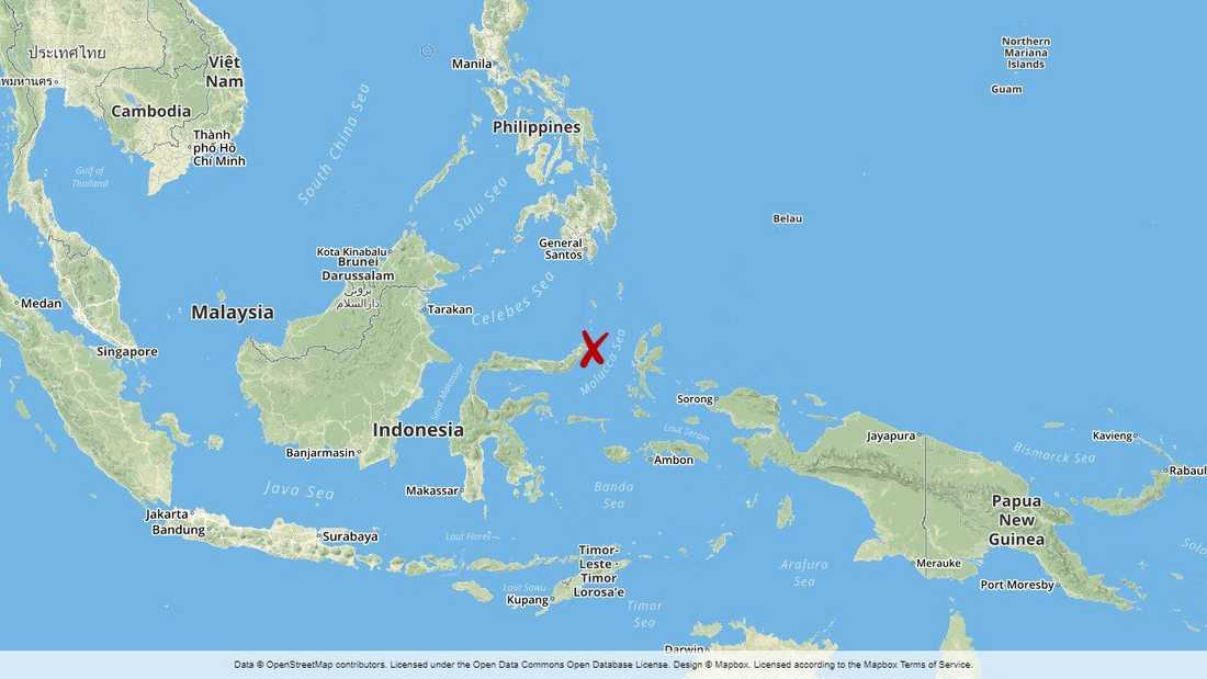 Jordbävningen inträffade i Molucksjön.