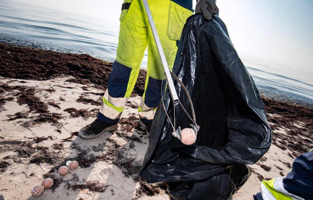 Personal från Trelleborgs kommun sanerade på onsdagen stranden vid Beddingestrands naturreservat, öster om Trelleborg, från mystiska bollar som i veckan flutit i land. Bollarna är något större än en pingisboll, och kommunen gör bedömningen att bollarna inte är farliga på något sätt.