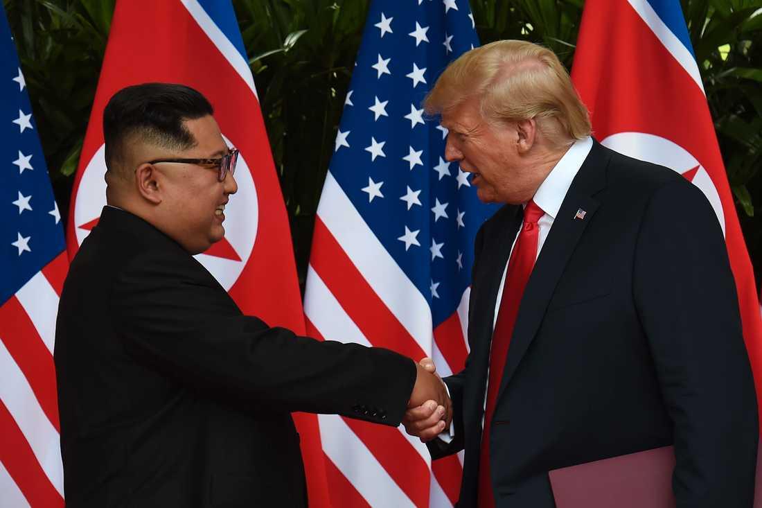 Kim Jong-Un och Donald Trump skakade hand i Singapore