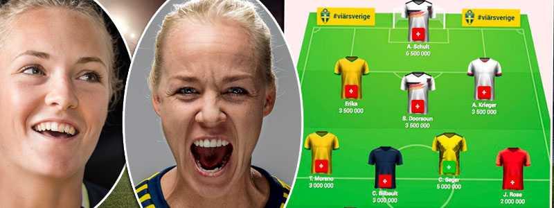 """Blågults Magdalena Eriksson och Caroline Seger välkomnar Sportbladets managerspel """"VM-elvan""""."""