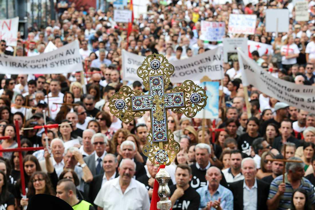 Demonstration till stöd för minoriteter i Irak och Syrien.