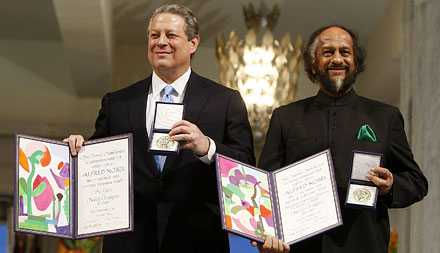 USA:s före detta vicepresident Al Gore och Alhendra Pachauri från FN:s klimatpanel.