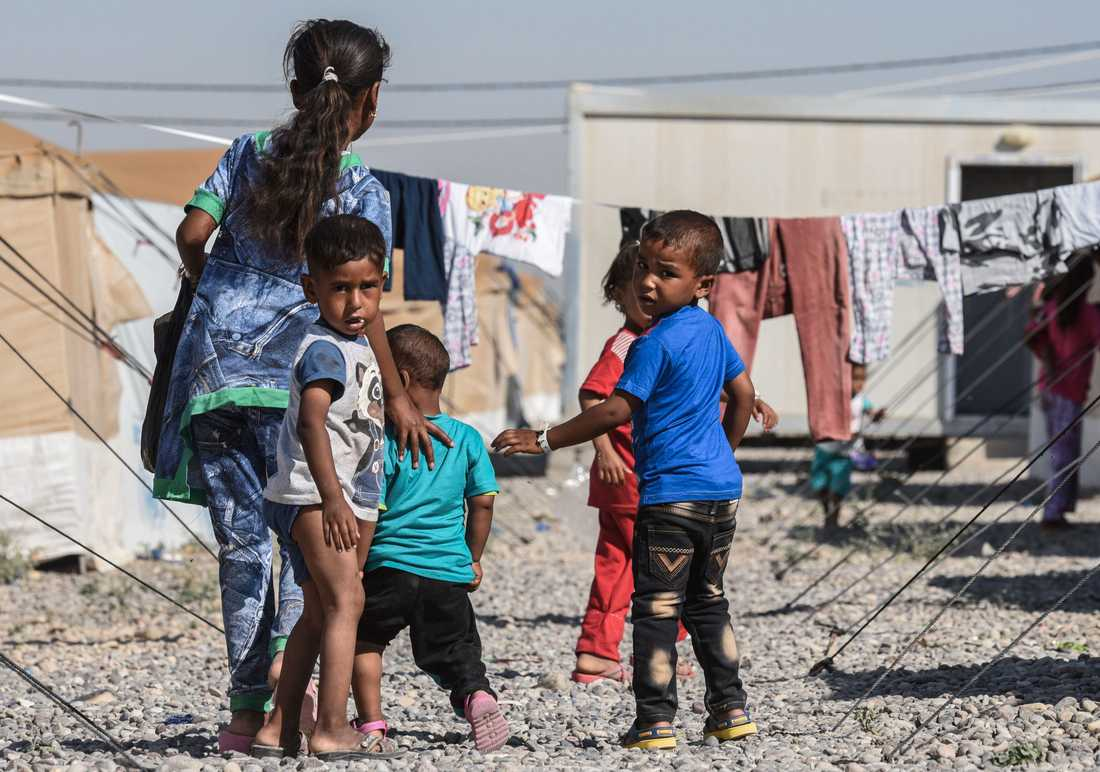 Flyktingar från stridigheterna i Mosul.