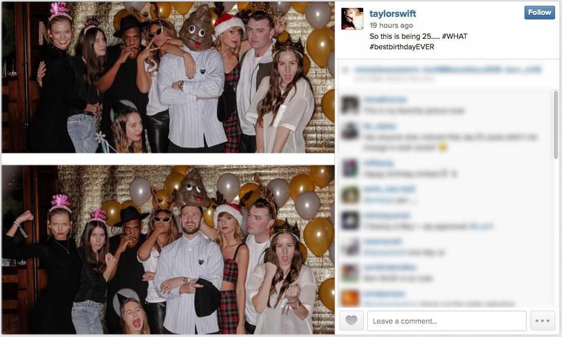 """""""Bästa födelsedagen någonsin"""", skriver Taylor Swift på Instagram om sitt 25-årskalas. Justin Timberlake kom utklädd till en bajskorv."""