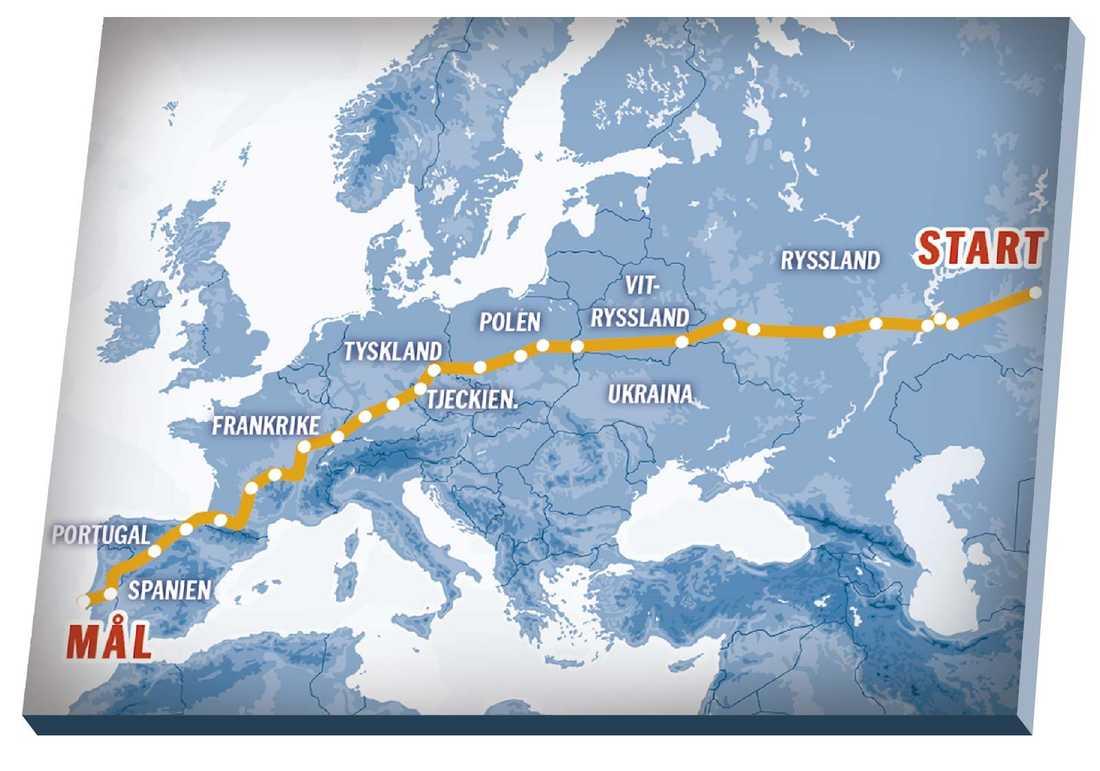 Cykelrutten rvärs över Europa.
