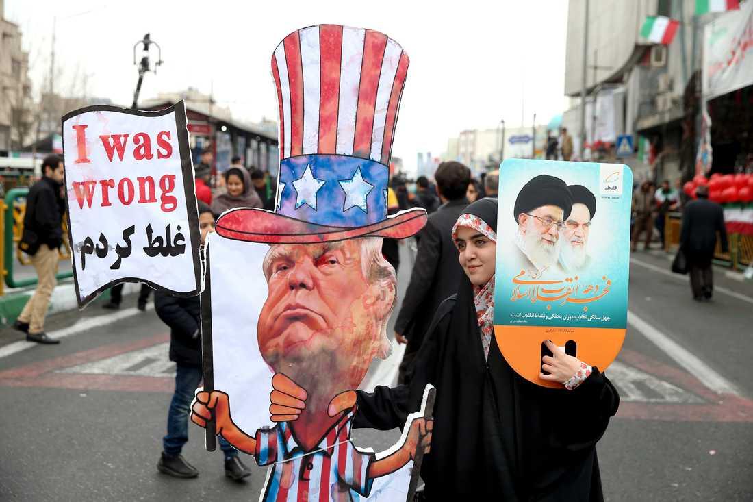 En protest i USA i februari mot att president Donald Trump drog sig ur det globala kärnenergiavtalet med Iran.