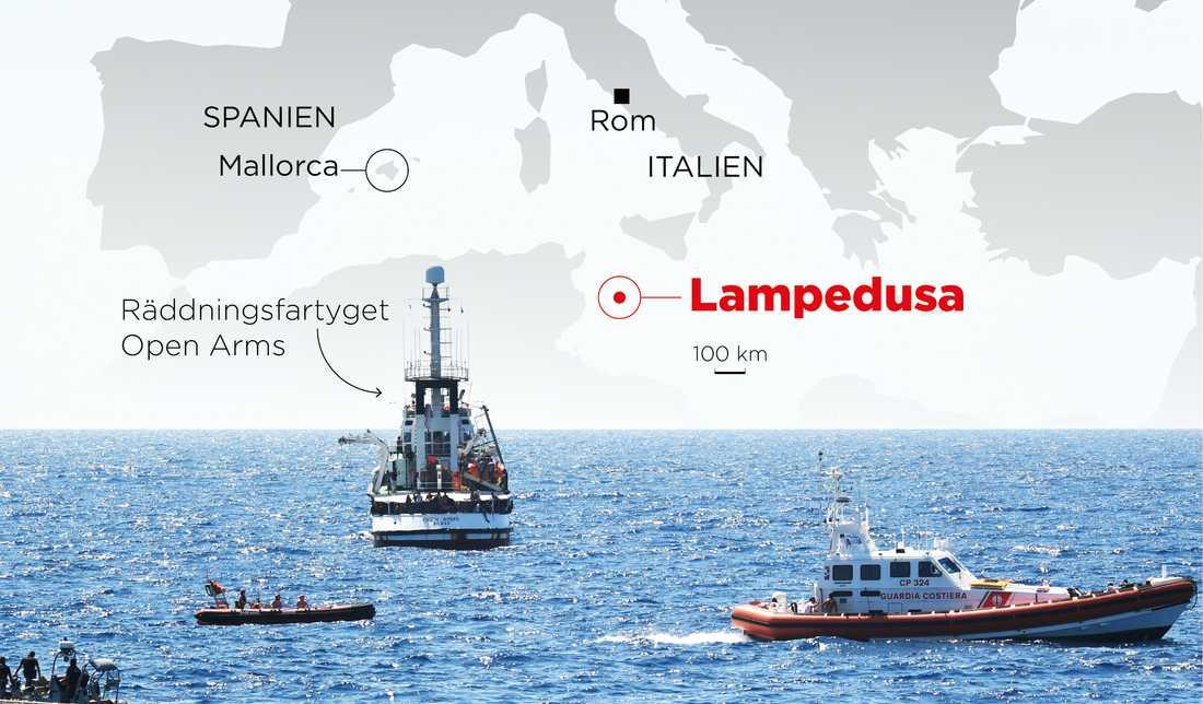 Open Arms har beordrats att lägga till på Lampedusa.