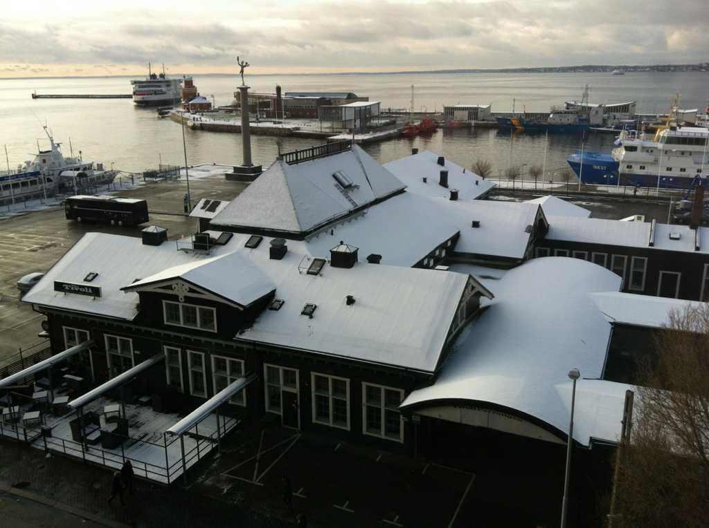Snö även i Helsingborg.