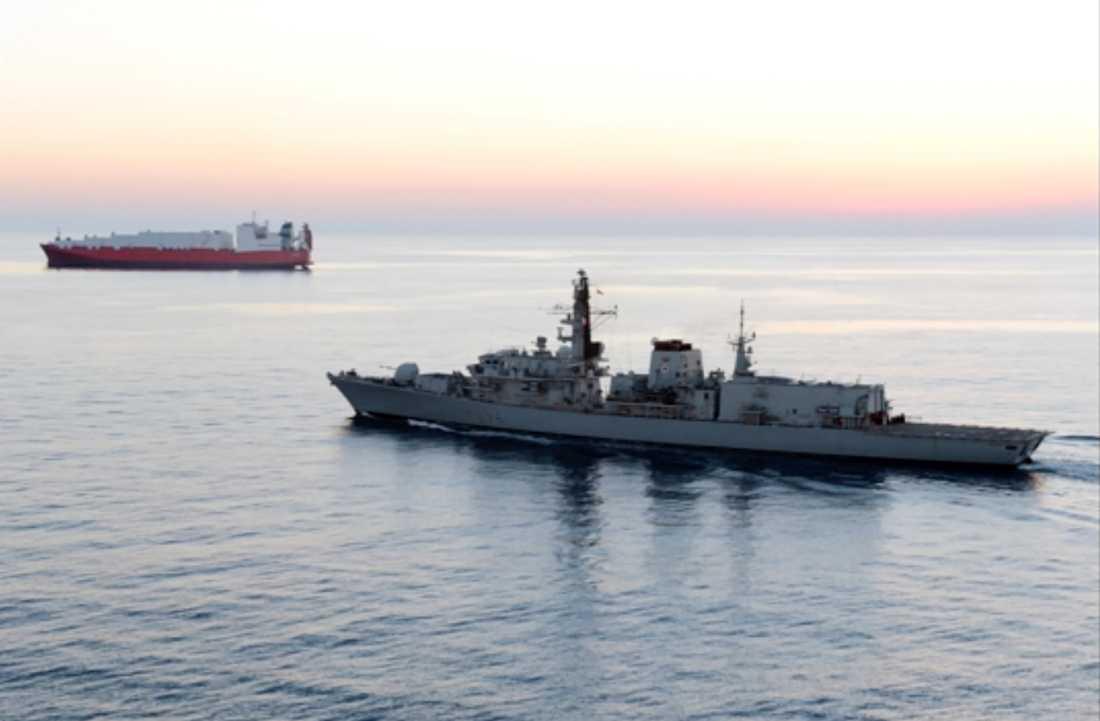 Fartyget HMS Montrose från den brittiska flottan ingrep för att förhindra beslagtagandet av oljetankern, enligt den brittiska regeringen. Arkivbild på fartyget från 2014.