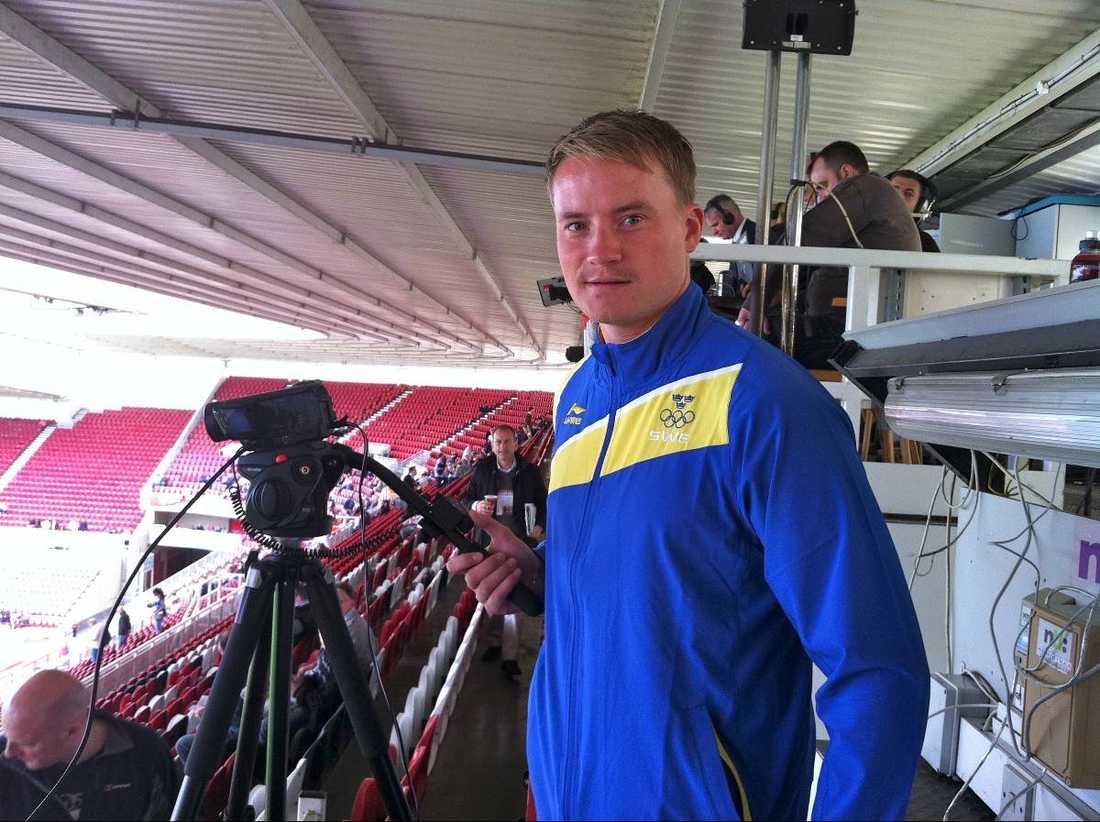Christoffer Bernspång, en av Blågults analytiker, filmade fredagens genrep mot Storbritannien från läktaren.