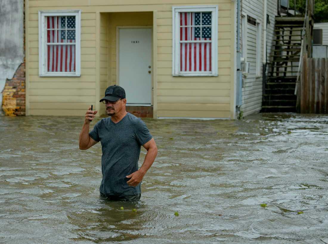 En boende i Mandeville, norr om sjön Pontchartrain, i Louisiana. Bild tagen 13 juli 2019.