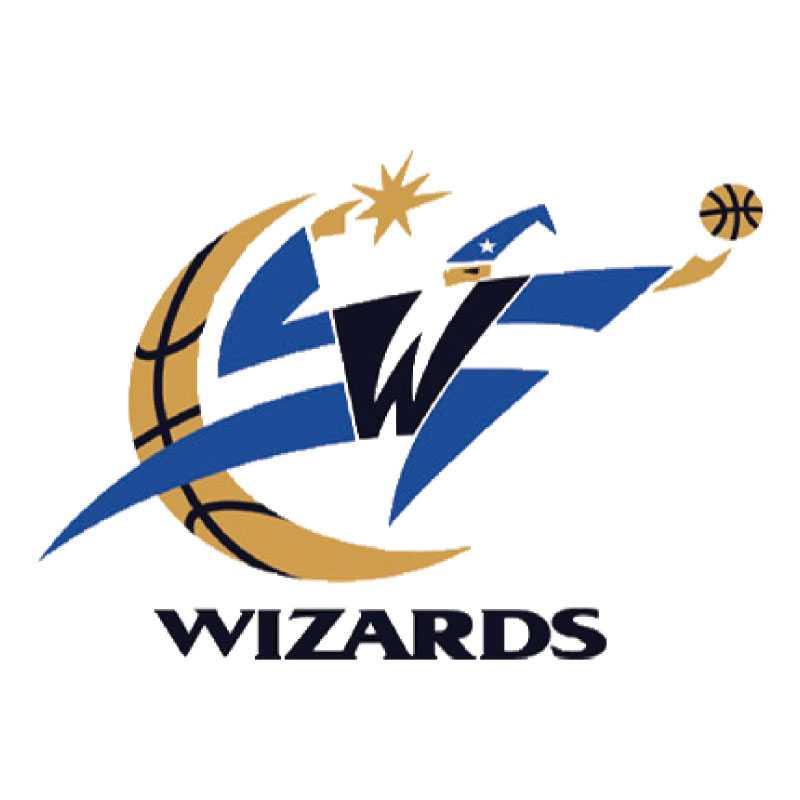 """Washington Wizards 1997 När NBA-laget Washington Bullets blev Washington Wizards i maj 1997 blev blått, rött och vitt, blått svart och brons  i det nya emblemet. Men mest anmärkningsvärd var den hiskeliga logga som huvudstadslaget visade upp. När Wizards tidigare i vår lanserade en ny logga var besvikelsen bland fansen stor då motivet var detsamma som tidigare, bara färgerna från Bullets-eran var nya.  """"Det ser ut som jultomten med en basketboll"""", var en i raden av negativa kommentarer från Wizards-fansen."""