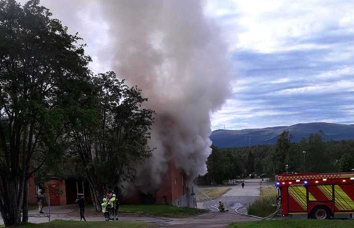 Brand i bostadshus i Malmberget.