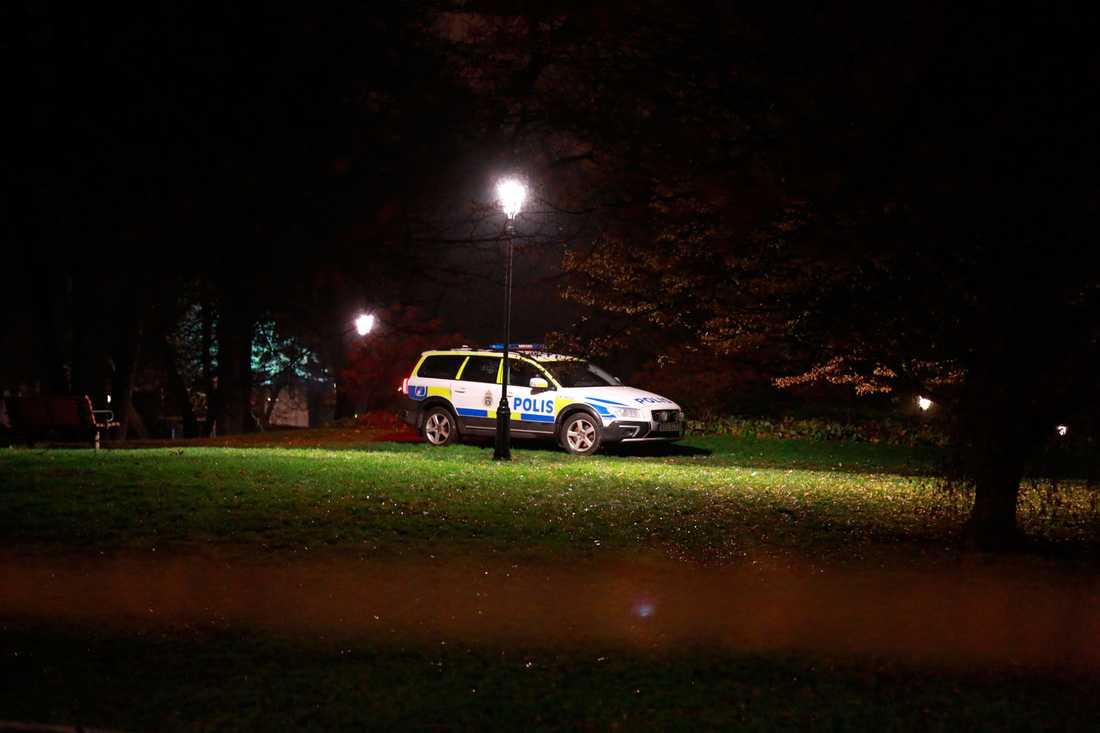 Polis på plats i Vasaparken i Västerås.