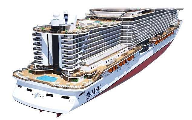 I aktern får poolområdet ny utformning och här nere går också ett promenaddäck runt hela fartyget.