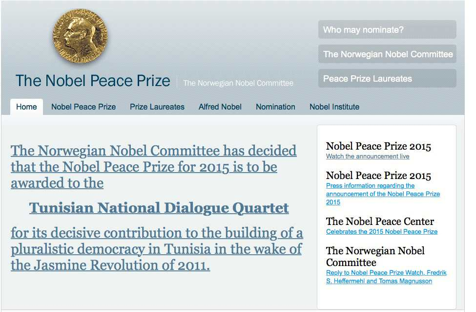 Prismotiveringen från norska Nobelkommittén.