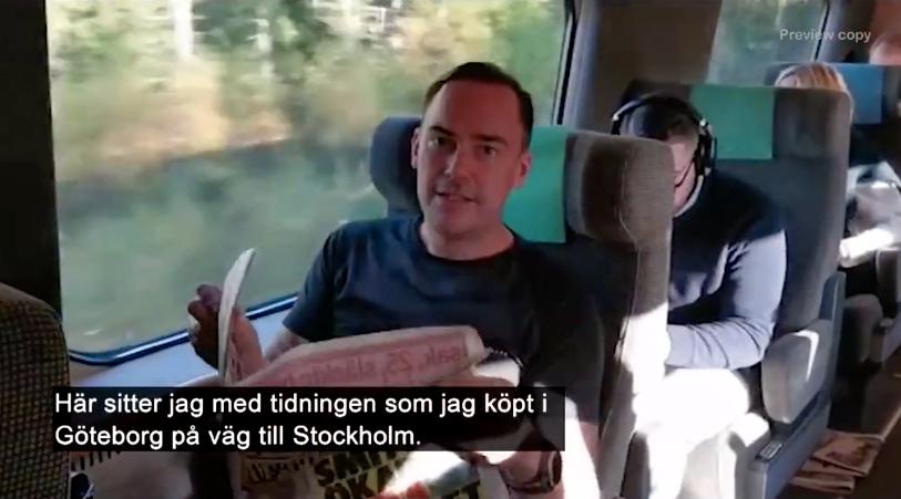Martin Nilsson har en trevlig lässtund och passar på att även memorera hela tidningen.