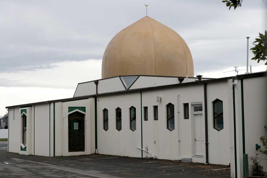 Al Noor-moskén i centrala Christchurch var ett av målen vid attackerna den 15 mars. Arkivbild.