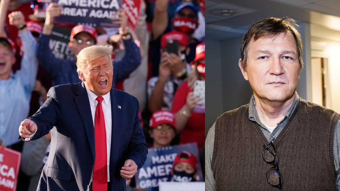 Donald Trump kampanjar i Tucson, Arizona. Roland Poirier Martinsson menar att situationen i USA länge har påverkats av att politiken har tagits ut ur politiken och ersatts av kommersialisering och varumärkesbyggande.