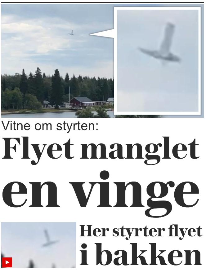 """VG, Norges mest lästa tidning online, skriver att """"planet saknar en vinge"""" och hänvisar till ett vittne."""
