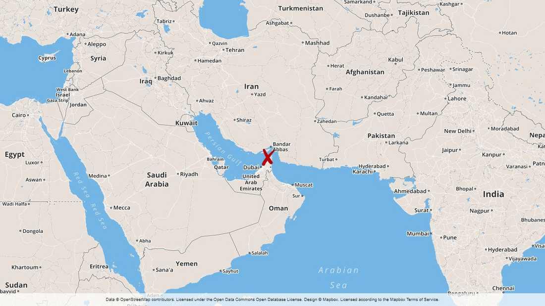 Hormuzsundet skiljer den Arabiska halvön från Iran.