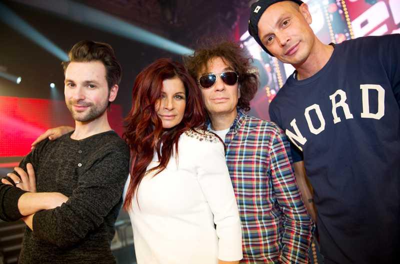 """Petter tillsammans med sina kollegor i """"The Voice"""" – Ola Salo, Carola Häggkvist och Magnus Uggla."""