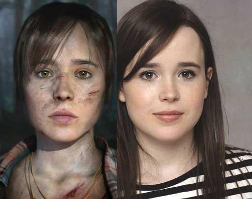 """Ellen Page och (till vänster) hennes digitala alter ego i kommande """"Beyond: Two souls""""."""
