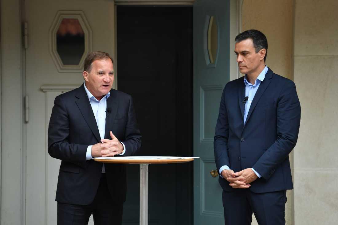 Pressträff med statsminister Stefan Löfven och Spaniens premiärminister Pedro Sánchez.