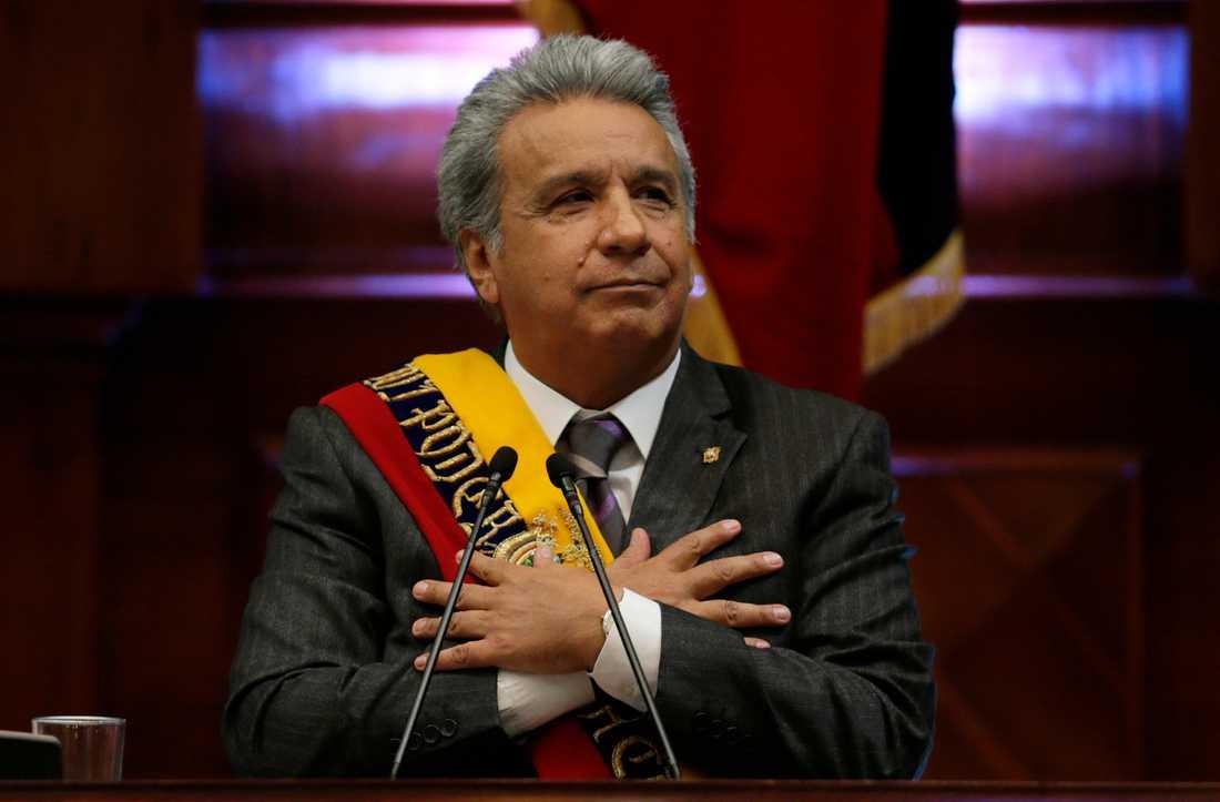 Ecuadors president Lenín Moreno under ett tal till nationen i april i fjol.
