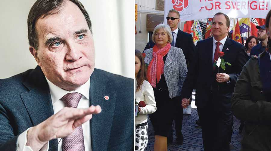 I dag går jag i första maj-tåget för ett starkare samhälle, för ett tryggare Sverige, skriver Stefan Löfven. Till höger Stefan Löfven med fru Ulla Löfven på första maj 2016 i Göteborg.