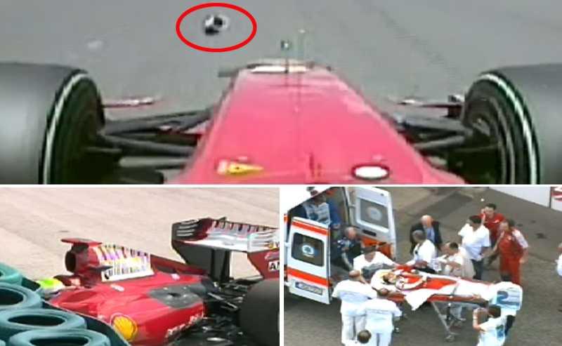 Massa träffas av en fjäder, kör rakt in i en däcksbarriär och förs senare till sjukhus.