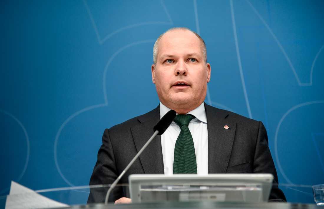 Justitieminister Morgan Johansson (S) har KU-anmälts för regeringens hantering av frågan om nya EU-regler om upphovsrätt på nätet. Arkivbild