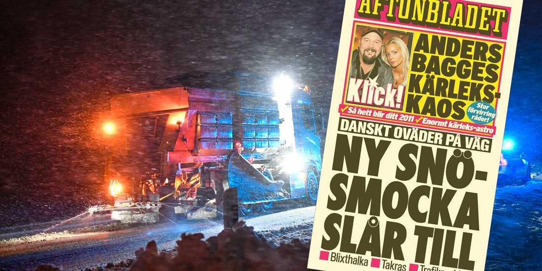 Föraren i en plog- och saltbil bekämpar årets första snösmocka i Skåne. Infälld: Löpsedeln 7 januari 2011.