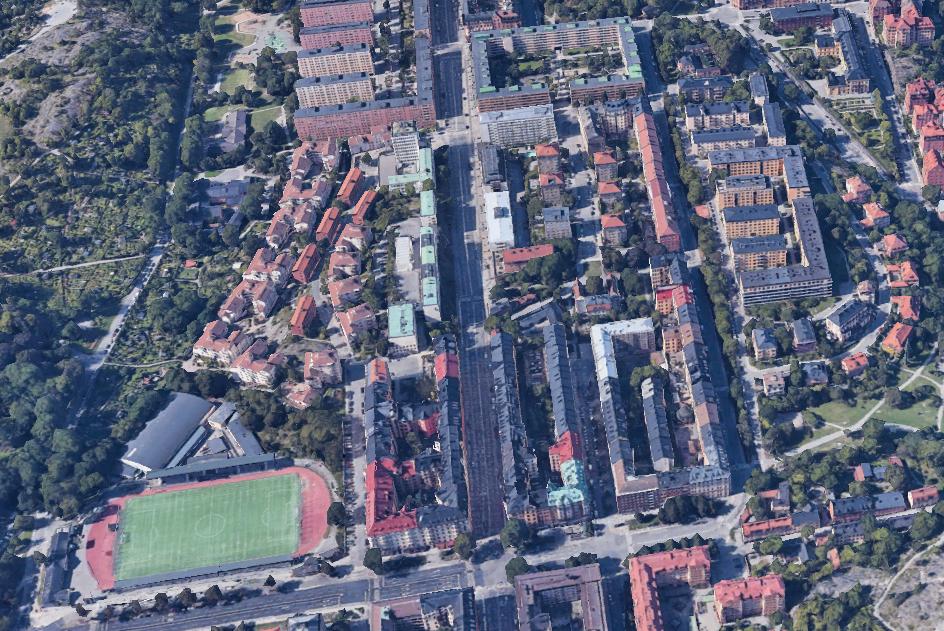Bild över Södermalm i Stockholm där gripandet skedde.