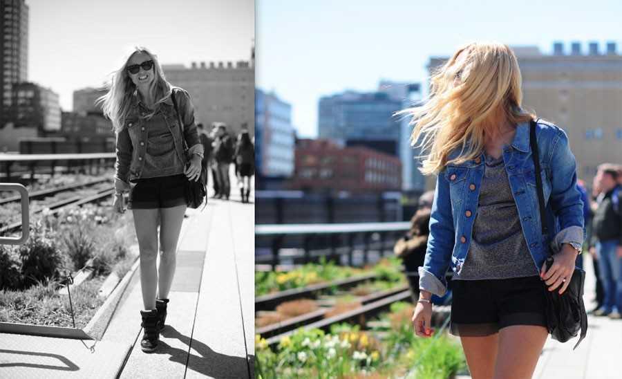 Jeansjacka - Acne, Solglasögon - Ray-Ban, Sneakers - Isabel Marant, Shorts - H&M.