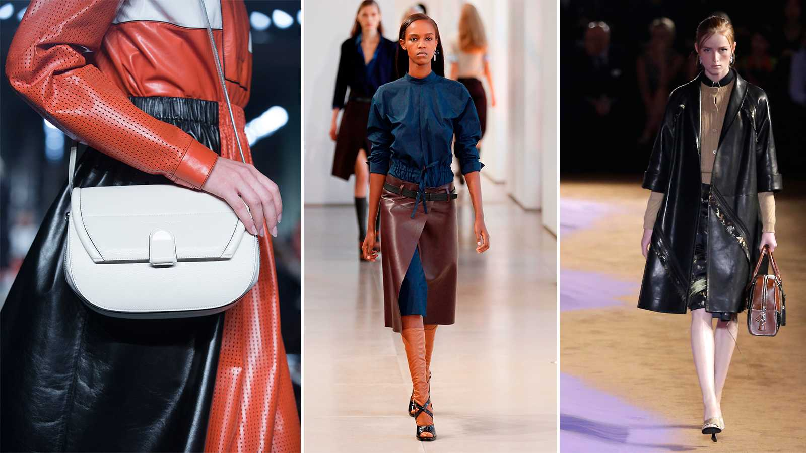 Proenza Schouler, Jil Sander och Prada visade alla nytänkande skinnplagg till 2015.
