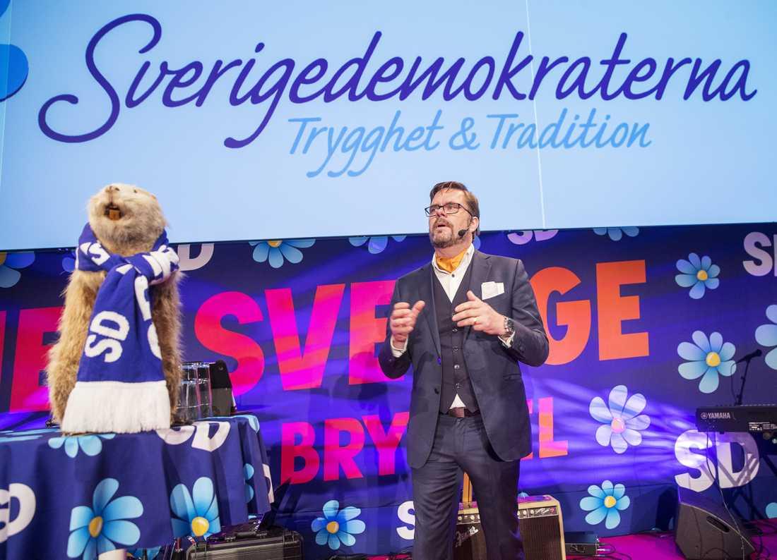 Sverigedemokraternas Jörgen Fogelklou under partiets valvaka i samband med EU-valet 2019.
