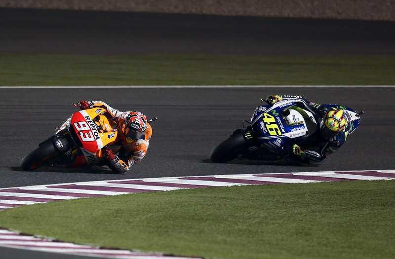 Tuff fajt Unge Marc Marquez (till vänster) och rutinerade Valentino Rossi utmanade varandra rejält i säsongens första race. I helgen går kampen vidare.