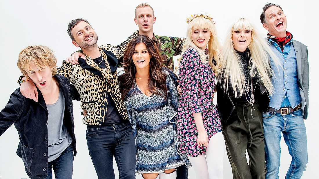 """""""Så mycket bättre""""-gänget 2014: Love Antell, Ola Salo, Carola, Johan T Karlsson, Amanda Jenssen, Kajsa Grytt och Orup."""
