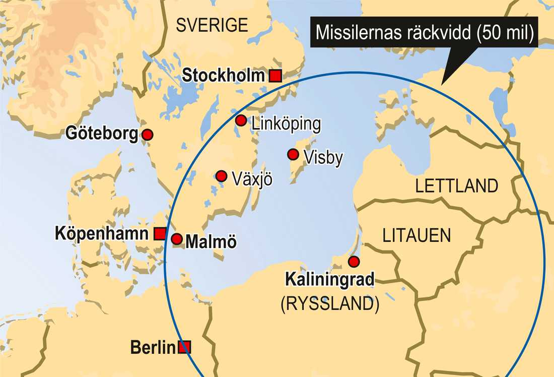 Så här långt kan ryska Iskandermissiler nå om de placeras i Kaliningrad.