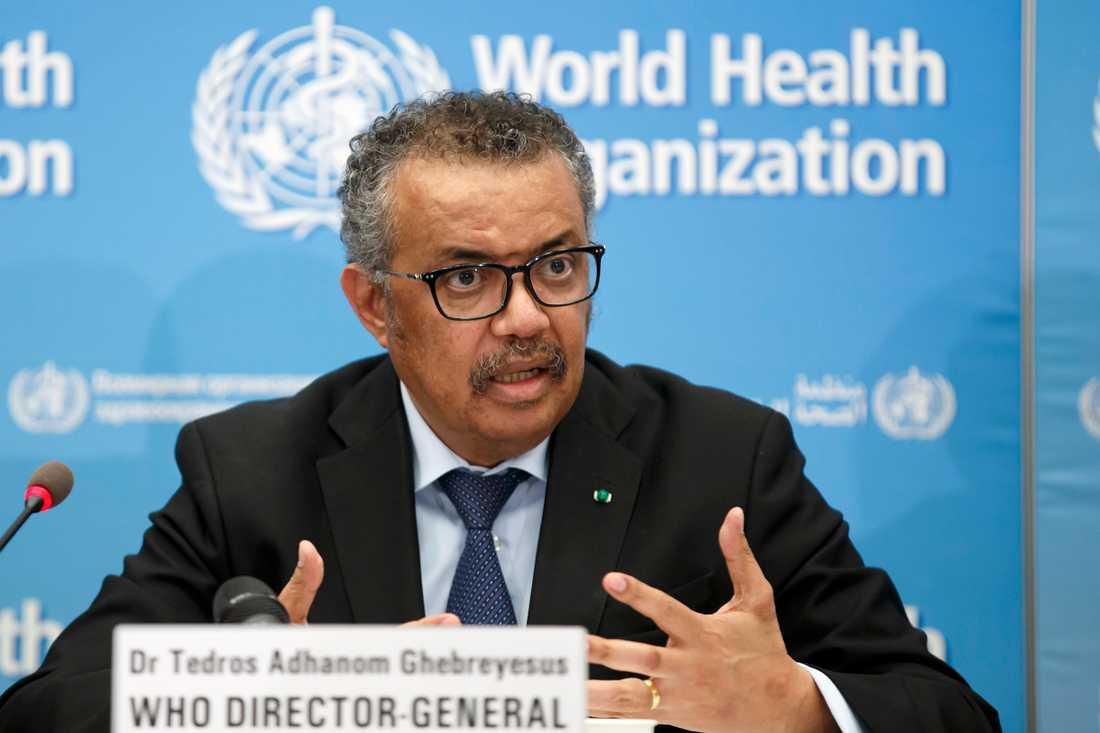 WHO-chefen Tedros Adhanom Ghebreyesus är djupt oroad över att antalet bekräftade coroansmittade ökar kraftigt. Arkivbild.