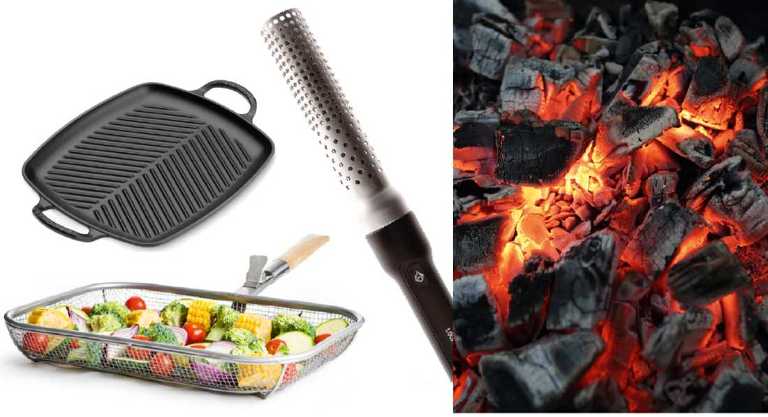 gjutjärn, grillkorg och grilltändare.