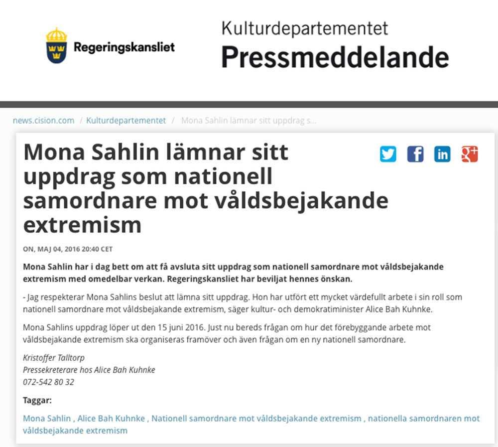 Faksimil från Kulturdepartementets pressmeddelande.