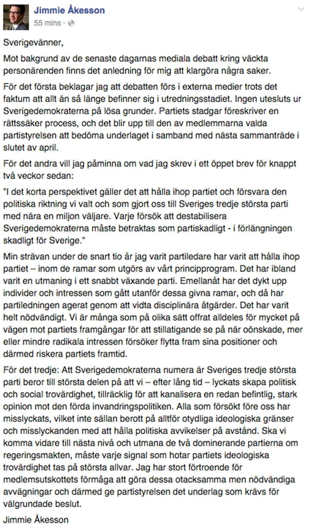 Faksimil från Åkessons Facebook.