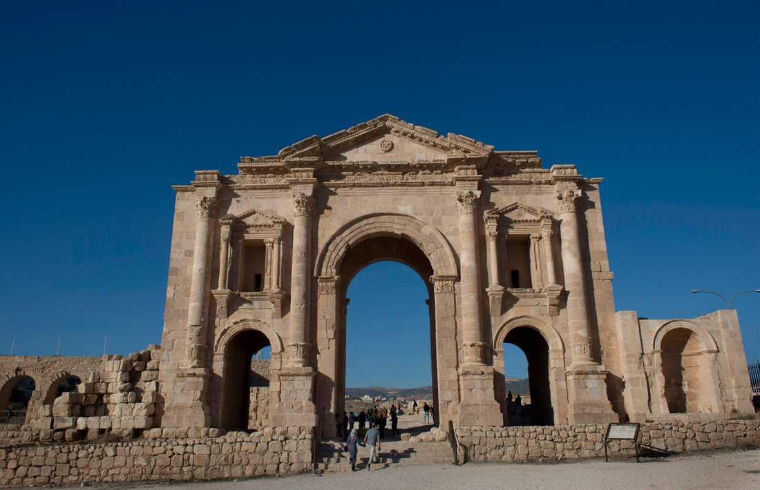 De romerska ruinerna i Jerash i Jordanien är ett populärt turistmål. Arkivbild.